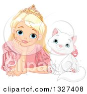 Blond Caucasian Princess In A Pink Gown Resting Her Chin In Her Hand On A Table By A Happy White Cat