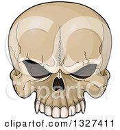 Clipart Of A Cartoon Evil Human Skull With Cracks Royalty Free Vector Illustration