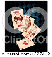 Clipart Of Distressed Wonderland Playing Cards Over A Clock And Blue And Black Diamonds Royalty Free Vector Illustration by Pushkin