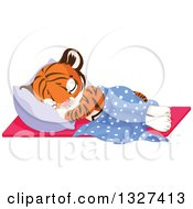 Clipart Of A Cute Baby Tiger Cub Sleeping Against A Pillow Royalty Free Vector Illustration by Pushkin
