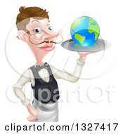 Cartoon Caucasian Male Waiter With A Curling Mustache Holding Earth On A Tray