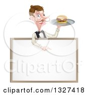 Cartoon Caucasian Male Waiter With A Curling Mustache Holding A Burger On A Tray And Pointing Down Over A White Sign