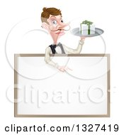 Cartoon Caucasian Male Waiter With A Curling Mustache Holding A Gift On A Tray And Pointing Down Over A White Sign