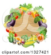 Clipart Of A Black Round Wooden Sign Framed In Produce Vegetables Royalty Free Vector Illustration
