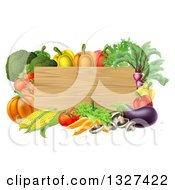 Clipart Of A Black Rectangular Wooden Sign Framed In Produce Vegetables Royalty Free Vector Illustration