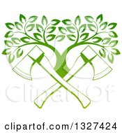 Clipart Of Gradient Green Crossed Axes And A Tree Royalty Free Vector Illustration by AtStockIllustration