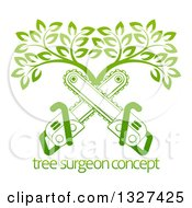 Clipart Of Gradient Green Crossed Chainsaws And A Tree Over Sample Text Royalty Free Vector Illustration by AtStockIllustration