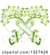 Clipart Of Gradient Green Crossed Chainsaws And A Tree Royalty Free Vector Illustration