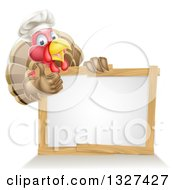Clipart Of A Pleased Turkey Bird Chef Giving A Thumb Up Above A Blank White Sign Royalty Free Vector Illustration by AtStockIllustration