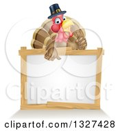 Clipart Of A Happy Thanksgiving Pilgrim Turkey Bird Giving A Thumb Up Over A Blank White Board Sign Royalty Free Vector Illustration by AtStockIllustration