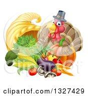 Cute Turkey Bird Pilgrim Giving A Thumb Up With Harvest Produce And A Cornucopia