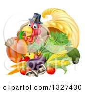 Clipart Of A Cute Turkey Bird Pilgrim Giving A Thumb Up With Harvest Produce And A Cornucopia 2 Royalty Free Vector Illustration by AtStockIllustration
