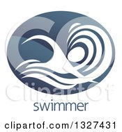 Clipart Of A Shiny Gradient Dark Blue Abstract Swimmer Doing The Butterfly In Waves Over Sample Text Royalty Free Vector Illustration by AtStockIllustration