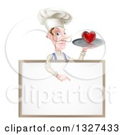 Clipart Of A White Male Chef With A Curling Mustache Holding A Heart On A Platter And Pointing Down Over A White Sign Royalty Free Vector Illustration