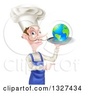 Clipart Of A White Male Chef With A Curling Mustache Holding Earth On A Platter And Pointing Royalty Free Vector Illustration