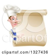 Clipart Of A White Male Chef With A Curling Mustache Pointing Around A Blank Menu Scroll Royalty Free Vector Illustration