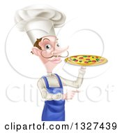 Clipart Of A White Male Chef With A Curling Mustache Holding A Pizza And Pointing Royalty Free Vector Illustration