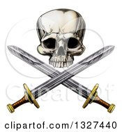 Clipart Of An Engraved Pirate Skull And Cross Swords Royalty Free Vector Illustration by AtStockIllustration