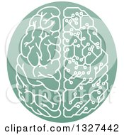 Clipart Of A Half Human Half Artificial Intelligence Circuit Board Brain In A Green Oval Royalty Free Vector Illustration
