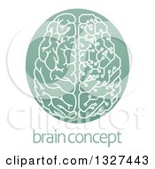 Clipart Of A Half Human Half Artificial Intelligence Circuit Board Brain In A Green Oval Over Sample Text Royalty Free Vector Illustration