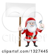 Clipart Of A Happy Christmas Santa Claus Carpenter Holding A Hammer And Blank Sign 2 Royalty Free Vector Illustration