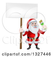 Clipart Of A Christmas Santa Claus Holding A Paintbrush And Sign 2 Royalty Free Vector Illustration