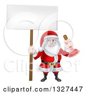 Clipart Of A Happy Christmas Santa Claus Plumber Holding A Plunger And Blank Sign 2 Royalty Free Vector Illustration