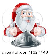 Clipart Of A Happy Christmas Santa Claus Sitting With A Cloche Platter And Holding Silverware Royalty Free Vector Illustration