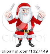 Clipart Of A Happy Christmas Santa Claus Standing And Holding Silverware Royalty Free Vector Illustration
