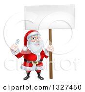 Clipart Of A Happy Christmas Santa Holding An Adjustable Wrench And Blank Sign Royalty Free Vector Illustration
