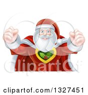 Clipart Of A Super Hero Santa Claus Flexing His Bicep Muscles Royalty Free Vector Illustration