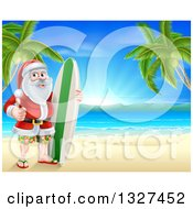 Clipart Of A Christmas Santa Claus Giving A Thumb Up And Standing With A Surf Board On A Tropical Beach Royalty Free Vector Illustration by AtStockIllustration