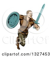 Clipart Of A Muscular Viking Warrior Sprinting With A Sword And Shield Royalty Free Vector Illustration by AtStockIllustration