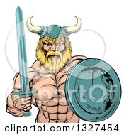 Clipart Of A Cartoon Tough Muscular Blond Male Viking Warrior Holding A Sword And Shield Royalty Free Vector Illustration by AtStockIllustration