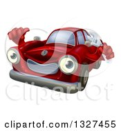Clipart Of A Happy Cartoon Red Car Character Mechanic Holding A Wrench And Thumb Up 2 Royalty Free Vector Illustration