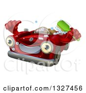 Clipart Of A Red Convertible Car Character Holding A Thumb Up And A Green Scrub Brush Royalty Free Vector Illustration