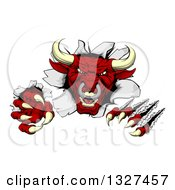 Clipart Of A Mad Aggressive Clawed Red Bull Monster Slashing Through A Wall 2 Royalty Free Vector Illustration