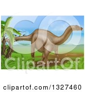 Clipart Of A 3d Diplodocus Dinosaur In A Landscape Royalty Free Vector Illustration