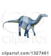 Clipart Of A 3d Blue Diplodocus Dinosaur Royalty Free Vector Illustration