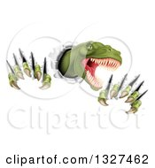 Clipart Of A 3d Roaring Green Tyrannosaurus Rex Dinosaur Slashing Through Metal Royalty Free Vector Illustration