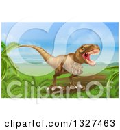 Clipart Of A 3d Roaring Vicious Tyrannosaurus Rex Dinosaur In A Landscape Royalty Free Vector Illustration