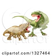 Clipart Of A 3d Tyrannosaurus Rex Dinosaur Attacking A Triceratops Royalty Free Vector Illustration by AtStockIllustration