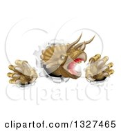 Clipart Of A 3d Roaring Angry Triceratops Dinosaur Slashing Through A Wall Royalty Free Vector Illustration by AtStockIllustration