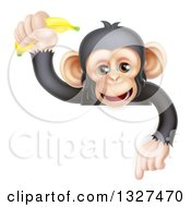 Happy Chimpanzee Monkey Holding Up A Banana And Pointing Down Over A Sign