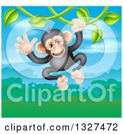 Clipart Of A Happy Chimpanzee Monkey Swinging From A Vine Over A Valley Royalty Free Vector Illustration by AtStockIllustration