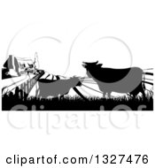 Clipart Of A Black And White Sunrise Over A Farm House With Silhouetted Cows And Fields Royalty Free Vector Illustration
