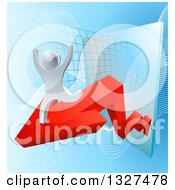 Clipart Of A 3d Victorious Silver Businessman Running On A Red Arrow Off Of A Chart On Blue Royalty Free Vector Illustration by AtStockIllustration
