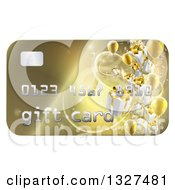 Clipart Of A 3d Gold Gift Card With Presents And Balloons Royalty Free Vector Illustration