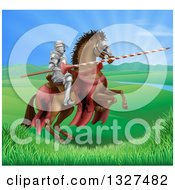 Clipart Of A 3d Knight Holding A Jousting Lance On A Rearing Brown Horse In A Valley Royalty Free Vector Illustration