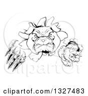 Clipart Of A Black And White Tough Bulldog Monster Clawing Through A Wall 2 Royalty Free Vector Illustration